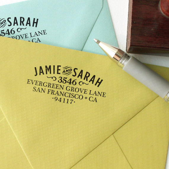 Wedding - Custom return address stamp WOOD TYPE DESIGN with wood handle
