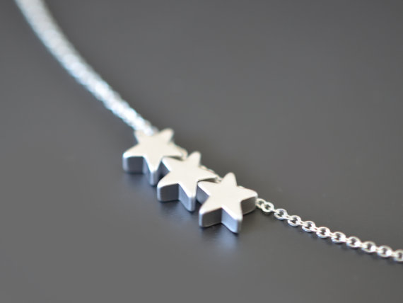 Свадьба - SALE, Mini star silver necklace, Wedding jewelry, Bridal necklace, Bridesmaid necklace, Anniversary gift, Valentine's gift, Christmas gift