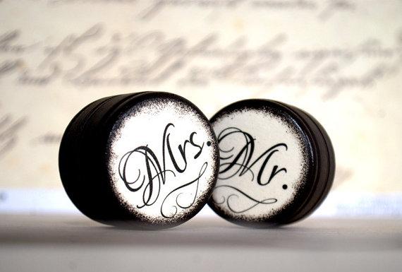 Mariage - Mr & Mrs - Set  0f  2 - Wedding Ring Box - Customize -