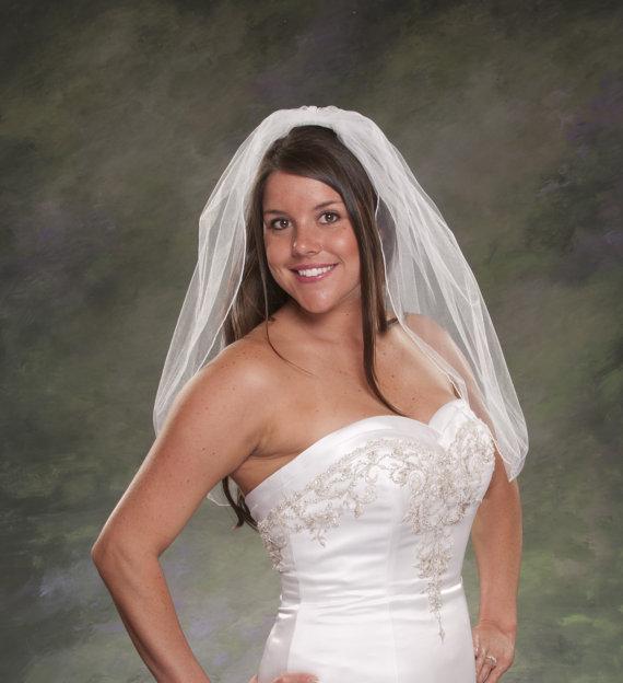 Mariage - 1 Layer Pencil Edge Veil Tulle Veil Waist Length 28 Inches Long 1 Tier Short Bridal Veil White Veil Ivory Veils Wedding Veils Pencil Edge