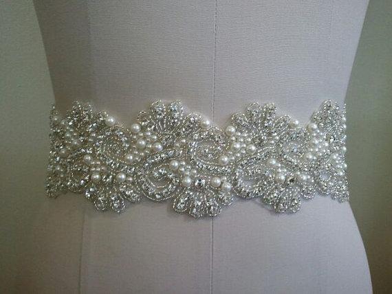 Mariage - SALE - Wedding Belt, Bridal Belt, Sash Belt, Crystal Rhinestone & Off White Pearls - Style B886