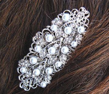 Mariage - Wedding Barrette, Pearl Hair Piece, Pearl Hair Comb, Ivory Pearl Clip,Veil Slide, Pearl Head Piece, Pearl Hair Brooch, Bridal Barrette