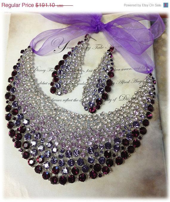 Mariage - Bridal jewelry set , OOAK  bib necklace earrings , Modern Contemporary purple rhinestone necklace statement, crystal jewelry set