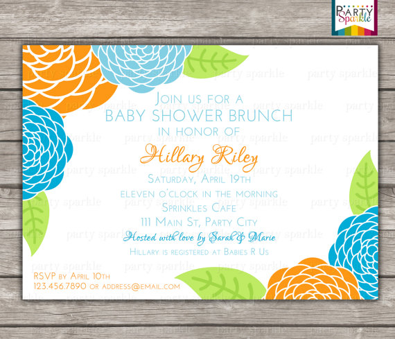 Свадьба - PRINTABLE Floral Brunch Baby Shower Invitation - Blue and Orange Flowers Invite - Personalized - Digital Invitation 4x6 or 5x7 jpg or pdf
