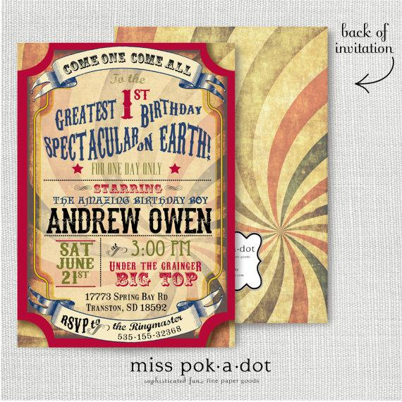 Wedding - Vintage carnival or circus birthday party invitation
