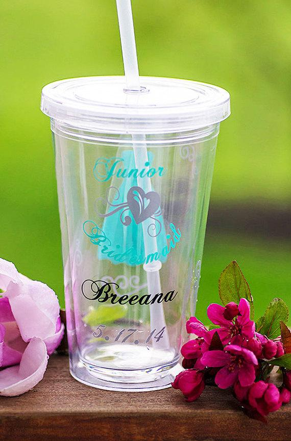 Свадьба - Junior Bridesmaid tumbler, Bridesmaid gift, Tumblers with lid and straw 16 oz. Priced individually