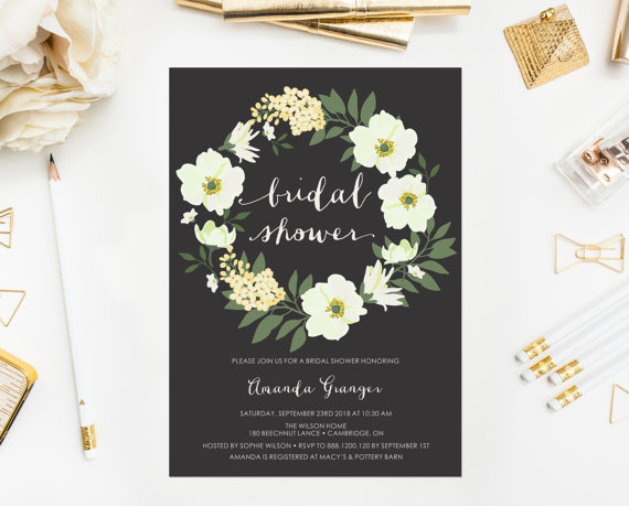 Wedding - PRINTABLE Invitation - Yellow Anemone Floral Wreath Bridal Shower Invitation - Customizable to Any Event