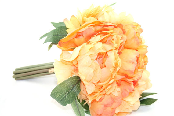 Mariage - Full Yellow Orange Peony BOUQUET -- Artificial Flower, Wedding Bouquet