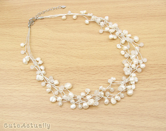 Hochzeit - White freshwater pearl necklace with stone and crystal on silk thread, Bridal necklace, Wedding jewelry
