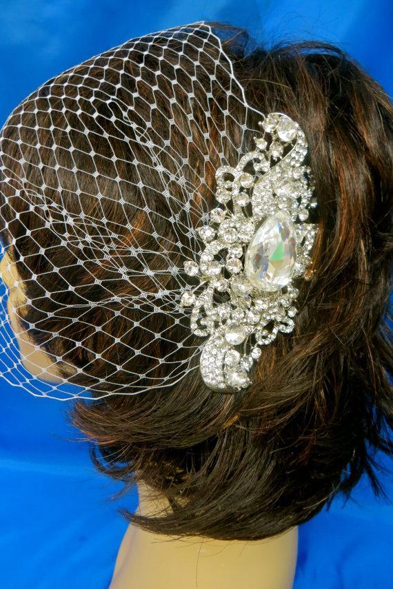 Свадьба - Bandeau Birdcage Veil, Wedding Blusher Veil, Rhinestone Bridal Veil, White Birdcage  Veil,  Ivory   Bridal Veil, White Bridal  Veil