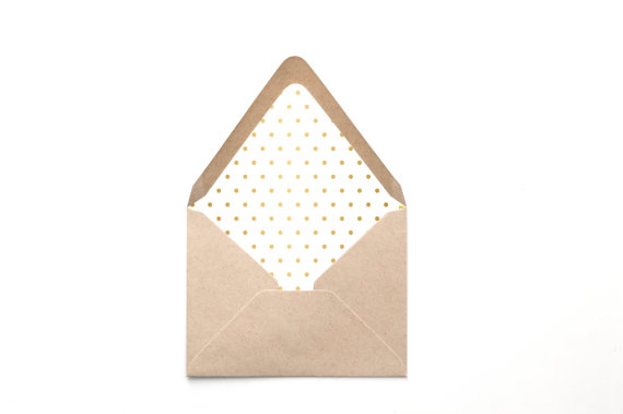 Printable Custom Envelope Liner Template Gold Foil Polka Dot