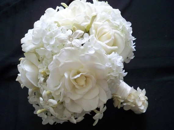 Mariage - Realtouch Wedding Bouquet of Replica Of Ivanka's  Bouquet In Gardenias Roses and Stephanotis and Boutonniere