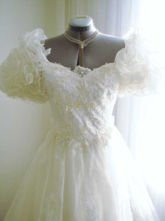 Mariage - Vintage Ruffled Wedding Dress Lady Antebellum Styled with Beading and Lace Accents on Organza