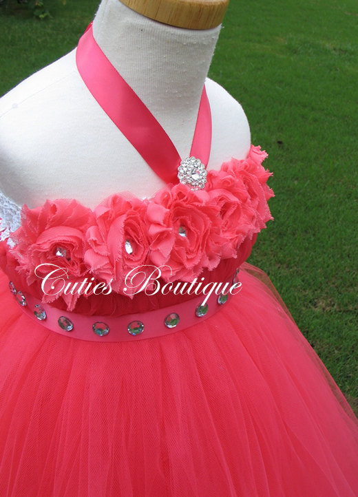 Mariage - Coral Flower Girl Dress Wedding Dress Birthday Holiday Picture Prop All Sizes 3- 24 Month, 2T-10 Girl Coral Flower Girl Tutu Dress