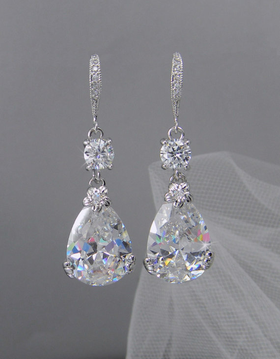 Mariage - Crystal Bridal Earrings,  Wedding Earrings, Swarovski bridal jewelry, Bridesmaids Jewelry, Megan Bridal Earrings