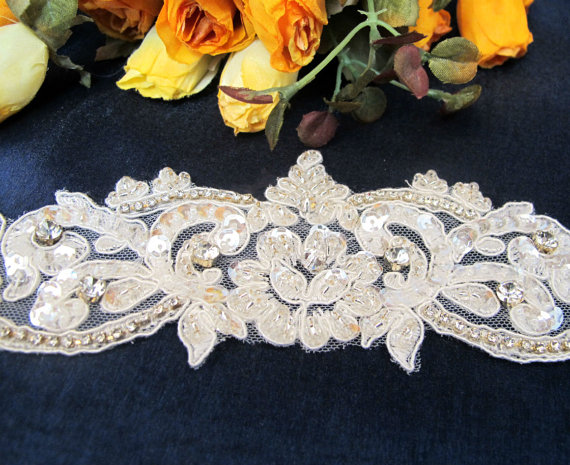 """Mariage - Private Listing 25"""" Beaded Bridal Belts Wedding Sash Trim Belt with Rhinestones and Crystal Beads Ivory"""