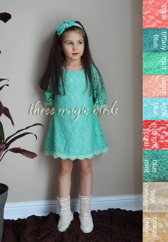 Mariage - Lace Flower Girl Dress-MINT Communion Dress-Rustic Flower Girl-Aqua Long Sleeve Flower Girl Dress-Bridesmaid-Country Flower Girl-Birthday
