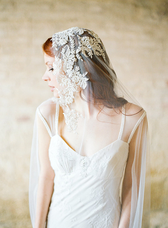 Mariage - Wedding Veil, Bridal Veil, Ivory Beaded Lace Veil, Mantilla Veil, Chapel veil - Style 307