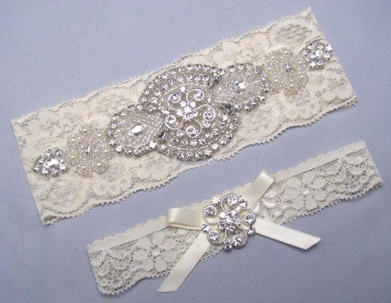 Mariage - Rhinestone Garter Set, Crystal Pearl Lace Garter, Ivory Bridal Garter, White Garter,  Wedding Garter, Plus Size or Petite Garter Belt