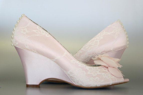 Mariage - Custom Wedding Shoes -- Blush Wedge Peep Toe Wedding Shoes, Ivory Lace Overlay, Chiffon Flower, Pearl Buttons and Blue Painted Sole