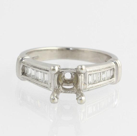 زفاف - Genuine VS1-2 Diamond Engagement Ring Setting Mounting .50ctw  - Platinum 5.5g p9212