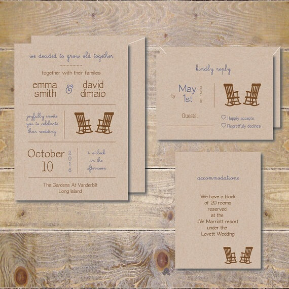 Свадьба - Barn Wedding Invitations, Recycled Wedding Invitations, Rustic Wedding Invitations, Rocking Chair Invitations - Grow Old WIth Me