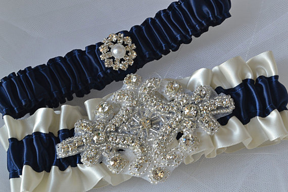 Свадьба - Wedding Garter, Navy Blue Garters and Ivory Satin, Bridal Garter Set, Rhinestone Garter, Bridal Accessories