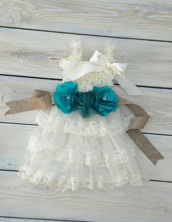 Свадьба - Flower girl dress,ivory flower girl, baptism dress, birthday dress,teal flower girl sash,burlap flower girl sash,rustic flower girl dress