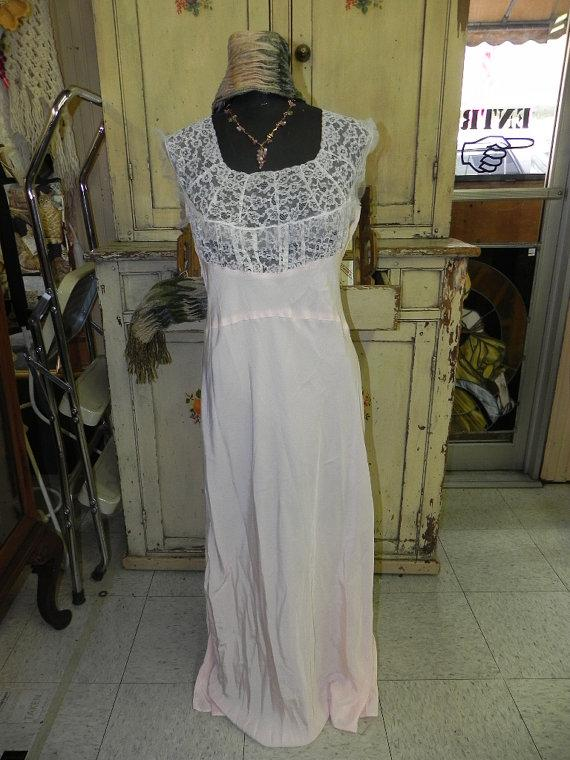 Hochzeit - Vintage Pink With White Lace Long Nightgown Negligee