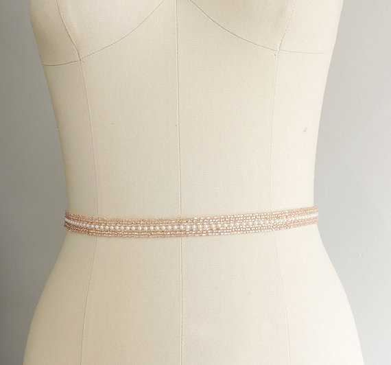 Mariage - Rose Gold Thin Beaded Bridal Belt Sash -Wedding gown sash - Wedding Belt, Crystal Rhinestone Belt, Bridesmaids, MOH