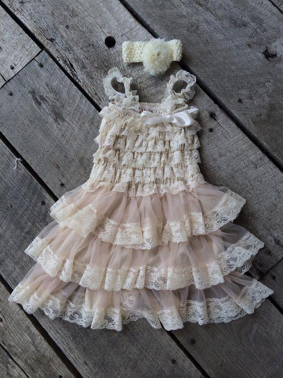 Mariage - Flower Girl Dress,  Lace Flower girl dress, Baby & Girl Lace Dress  Rustic  Country Flower Girl , Cream Lace dress Shabby Chic dress