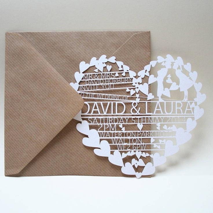 Свадьба - Hearts Laser Cut Wedding Invitation