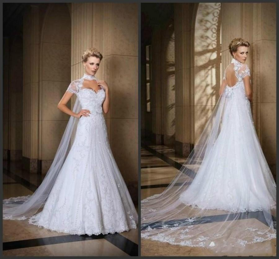 2015 backless high neck wedding dresses bolero beaded for Backless wedding dresses with sleeves