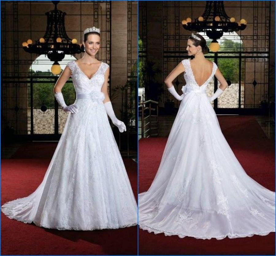 Свадьба - Charming 2015 V-Neck Lace Applique Wedding Dresses Sheer Sleeveless A-Line With Sash Winter Cheap Sweep Train Bridal Ball Wedding Gowns Online with $129.95/Piece on Hjklp88's Store