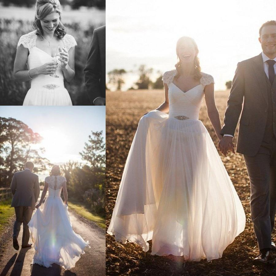 Romantic Sheer Spring 2015 Wedding Dresses Cap Sleeve A