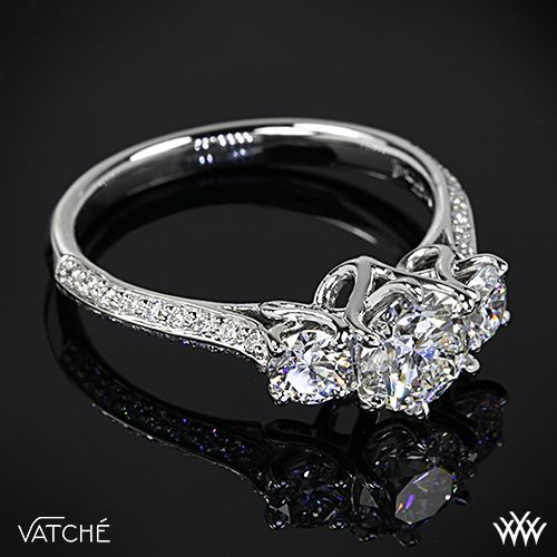 platinum vatche 324 swan 3 stone engagement ring setting only - Wedding Ring Settings