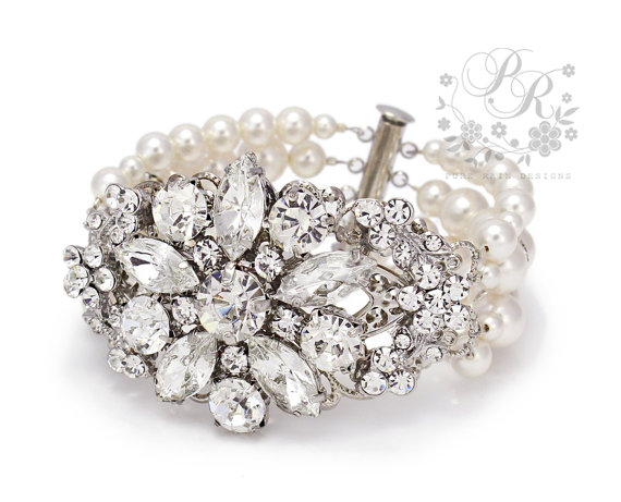 Wedding Bracelet Swarovski Pearl Rhinestone Jewelry Accessory Statement Bridal Bridesmaid Daisy