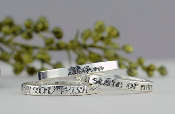 Mariage - Custom Engraved Ring, 2.5mm, Sterling Silver Ring, Stacking Rings, Personalized Jewelry, Personalized Ring, Bridesmaid Gift, Custom Jewelry