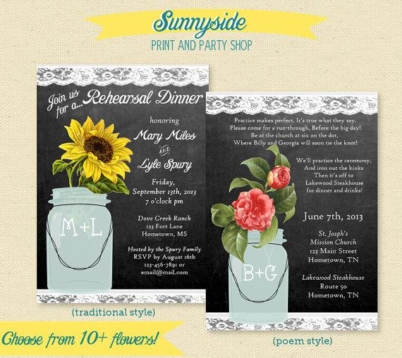 Wedding - Rehearsal Dinner Invite - Chalkboard Floral Mason Jar Invitation - 10+ flower choices, Sunflower