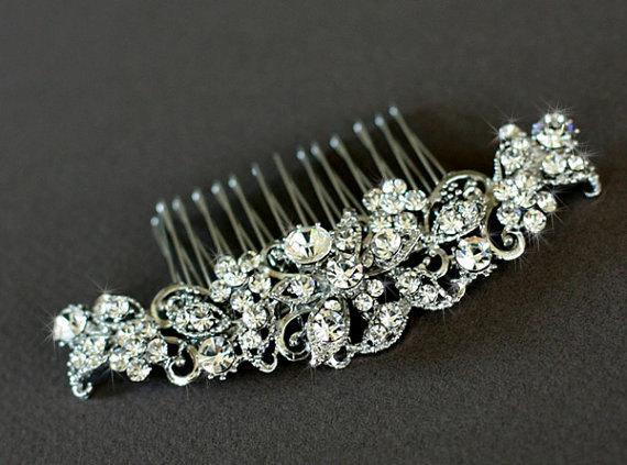 Wedding - Maya - bridal hair comb, wedding hair accessories, rhinestone comb, Gold hair comb, wedding hair comb, crystal hair comb -Made to order