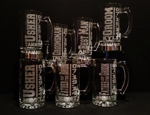 Mariage - Best Man Mug Set - 7 Personalized Best Man Mugs - Groomsmen Beer Mugs - Sandblasted Mugs - 16 Ounce Beer Mugs - Engraved Mugs