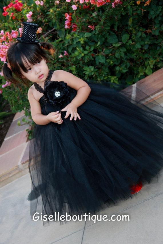 Flower Girl Dress Black Lacetutu Dress With Black Flowers Baby