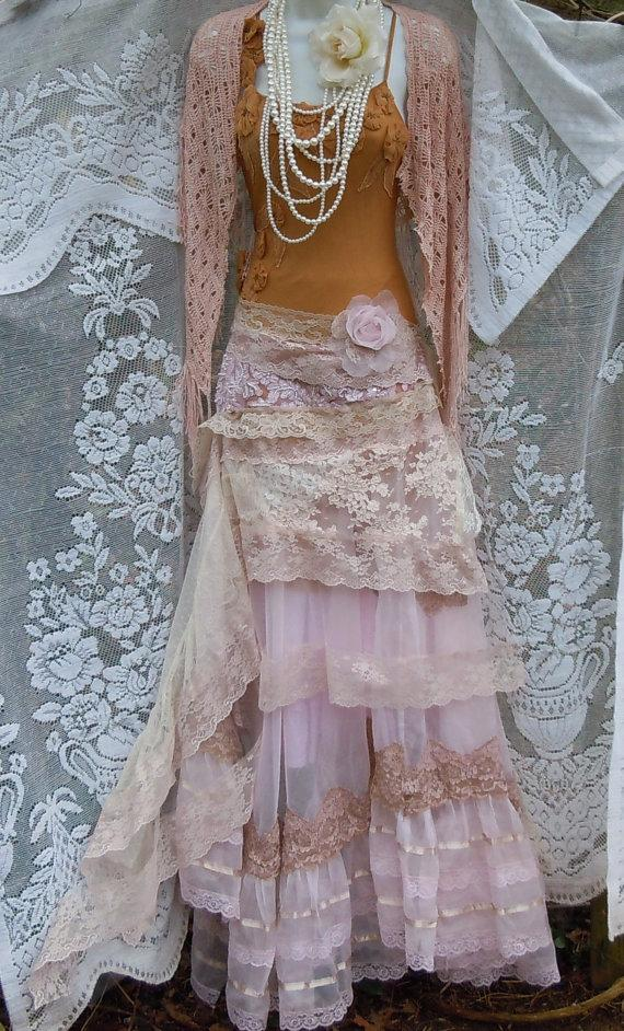 Mariage - Blush wedding dress cream lace  tulle satin vintage  edwardian bohemian romantic small by vintage opulence on Etsy