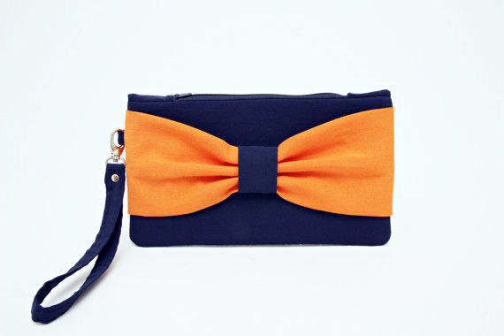 Mariage - OPENING SALE - Navy orange bow wristelt wedding clutch ,bridesmaid clutch ,casual clutch ,Evening bag ,zipper pouch .make up bag