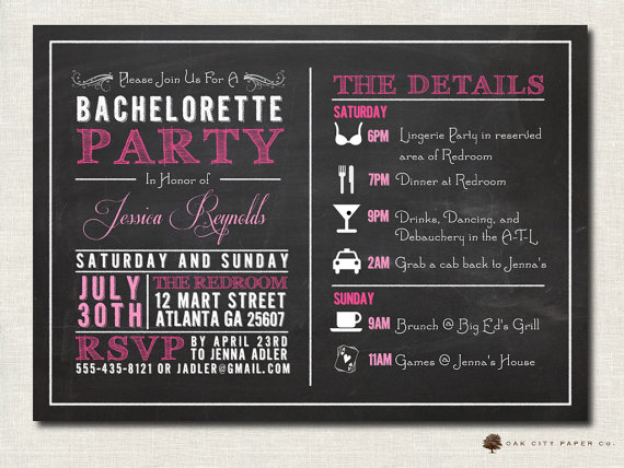 Свадьба - Bachelorette Invitation - Bachelorette Party Invitation, Bachelorette Itinerary, Girls Weekend, Chalkboard Invitation Template - Printable