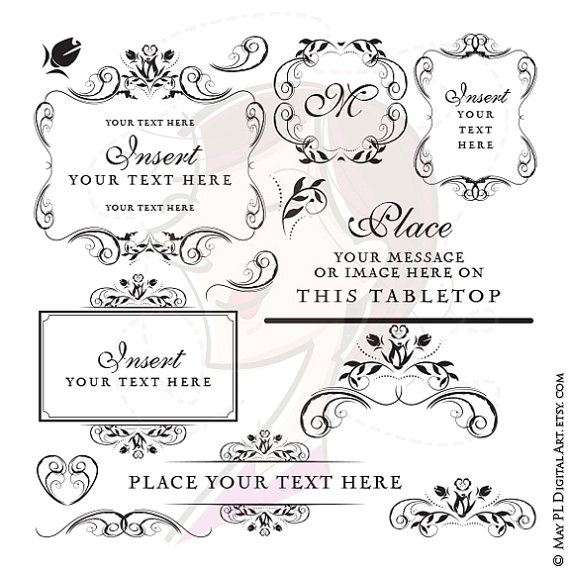 Wedding - Instant Download Wedding Frames Monogram Floral Digital Clip Art Retro Embroidery Designs Bridal Shower Invitations Vintage Flowers 10600