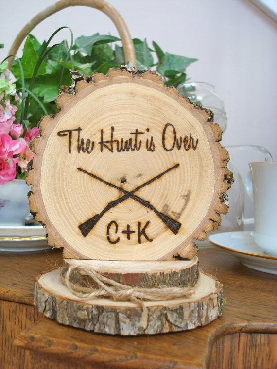 Rustic Wedding Cake Topper Rifles Hunting Personalized Wood Burned ...