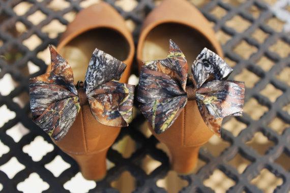 Mariage - 2 New Mossy Oak Break Up Camo Bow Shoe Clips