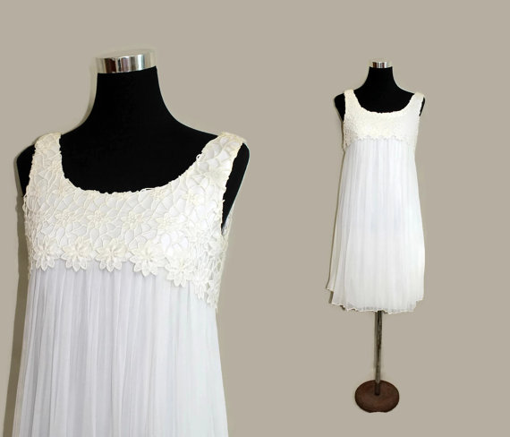 Vintage 60s beach wedding dress white lace silk simple for Baby doll style wedding dress