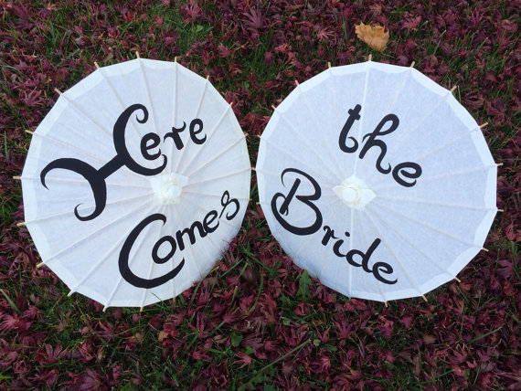 Wedding - Two Wedding Paper Parasols for Flower Girls, Here Comes the Bride, Wedding Ceremony, Wedding Pictures, Paper Umbrella, Wedding Decor